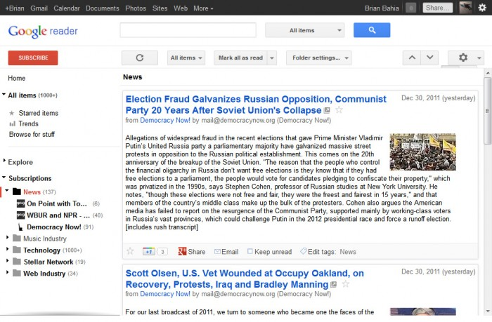 Google's RSS Reader